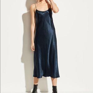 Navy blue satin slip dress by VINCE